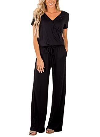 a3cc8e0b9087 Amazon.com  Asyoly Women Casual Long Pants Loose Wide Legs Jumpsuits  Rompers Short Sleeve V Neck Pockets  Clothing