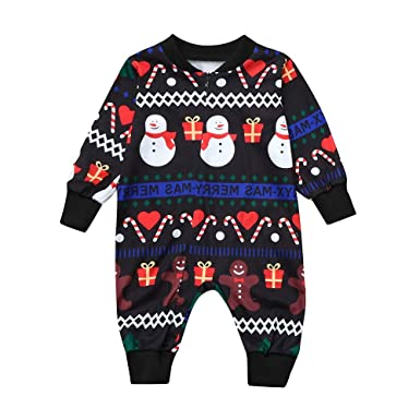 b5daee87b Amazon.com  Lavany Christmas Baby Romper Toddler Boy Girl Snowman ...