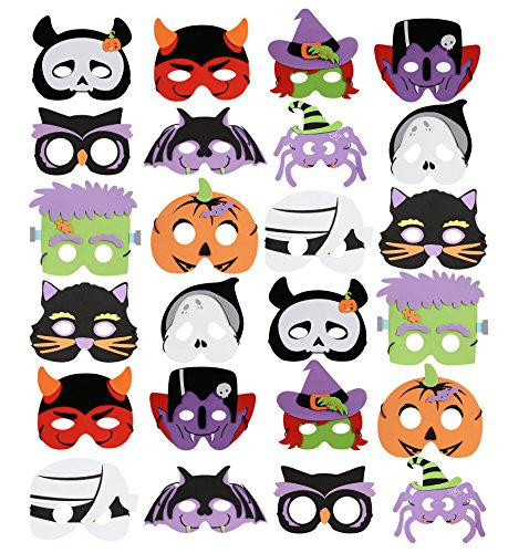 Create A Halloween Costumes (UNOMOR 24 Packs Foam Halloween Masks for Kids Fall Birthday Party Favors Dress-Up Costume)
