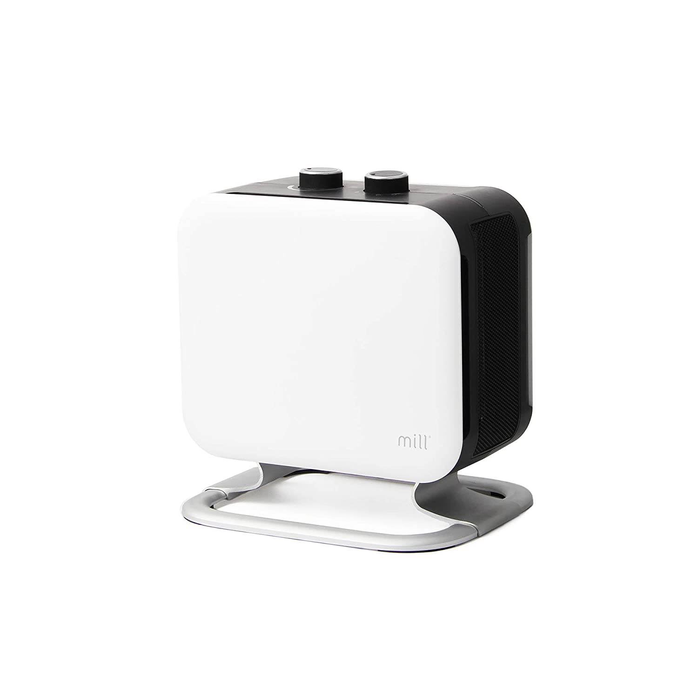 Mill CUS1500MECWA PTC Ceramic Fan Heater, White Sides, Black Body