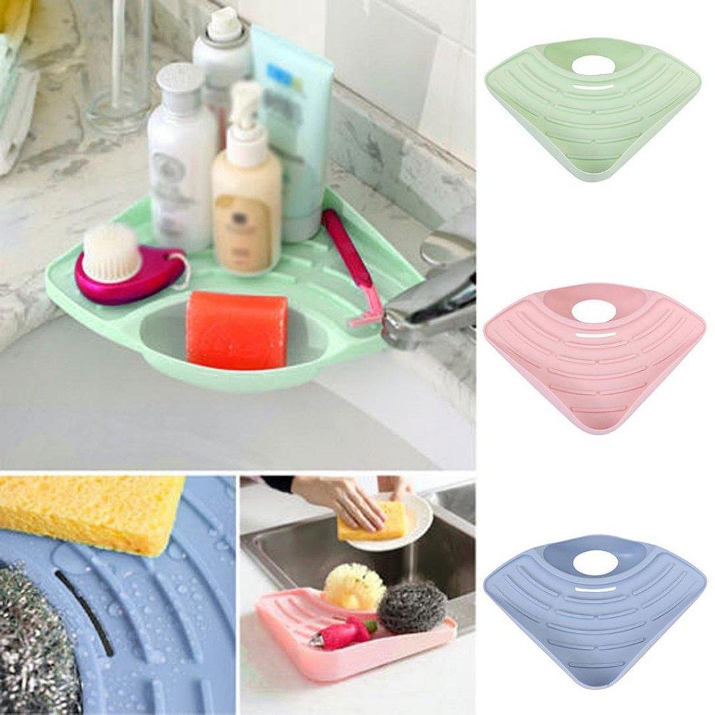 Storage Rack(27×19×5.5CM) ,Tuscom Bathroom Kitchen Sink Corner Storage Soap Tool Rack Sponge Holder Suction Cup (Khaki) by Tuscom (Image #1)
