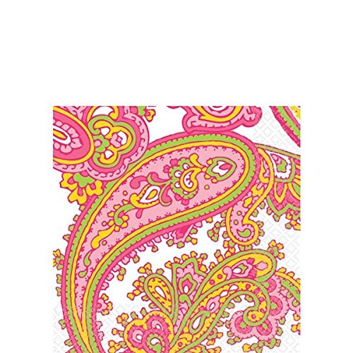 (amscan Decorative Peppermint Paisley Party Beverage Paper Napkins (16 Pack), 5 x 5, Green)