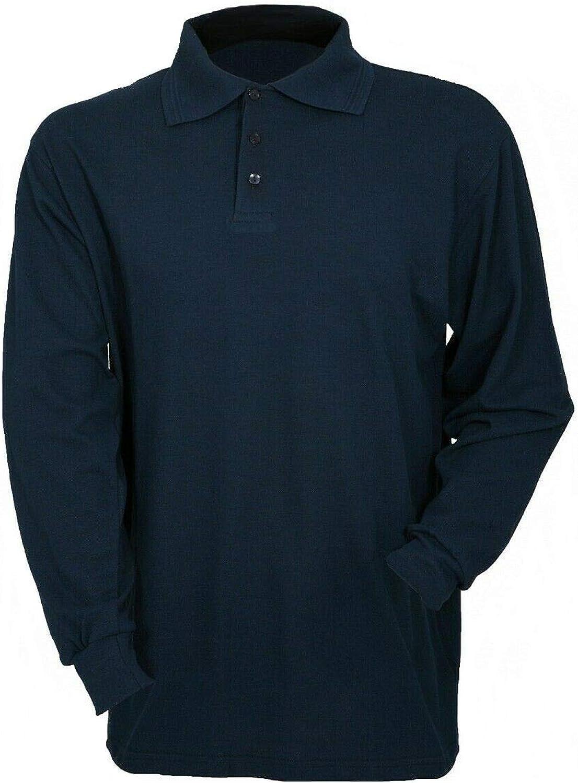 Protal Fire Retardant Antistatic Long Sleeved Polo Shirt Navy FR200