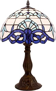 Tiffany Lamp White Blue Baroque Stained Glass Lampshade Antique Style Base Table Lamps Lighting W12 H18 Inch Living Room Bedroom Bedside Desk Lamp S003B WERFACTORY (S003B)
