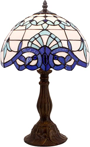 Tiffany Lamp White Blue Baroque Stained Glass Shade Antique Style Base Table Reading Light W12H18 Inch S003B WERFACTORY LAMPS Parent Friend Lover Kids Living Room Bedroom Bedside Desk Art Crafts Gift