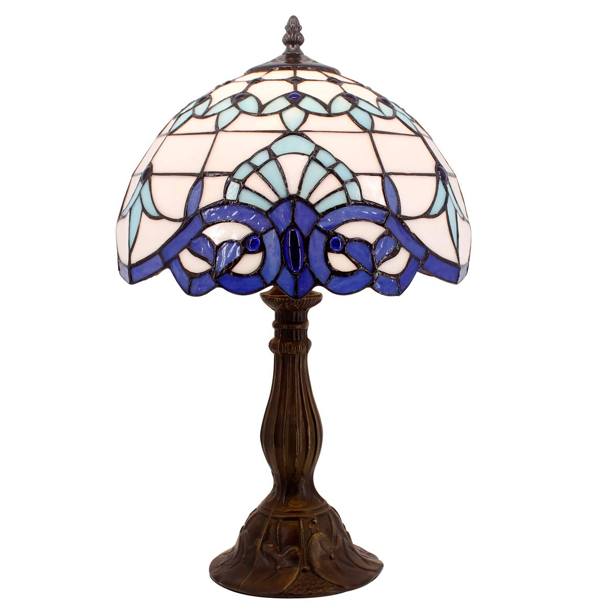 Tiffany Lamp White Blue Baroque Stained Glass Lampshade Antique Style Base Table Lamps Lighting W12 H18 Inch Living Room Bedroom Bedside Desk Lamp S003B WERFACTORY S003B