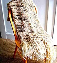 Throw Blanket, rocheted Blanket, Knitted Blanket, Tan Cream Brown Handmade in the USA Blanket