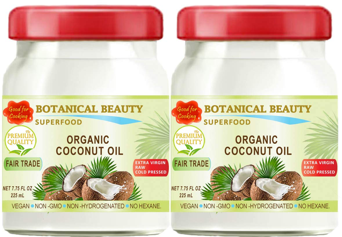 COCONUT OIL.ORGANIC FAIR TRADE 100% Pure. EXTRA VIRGIN / UNREFINED / RAW / COLD PRESSED. AMAZING SUPER FOOD. GOOD FOR COOKING. 7.75 Fl.oz – 225 ml. ( pack 2)