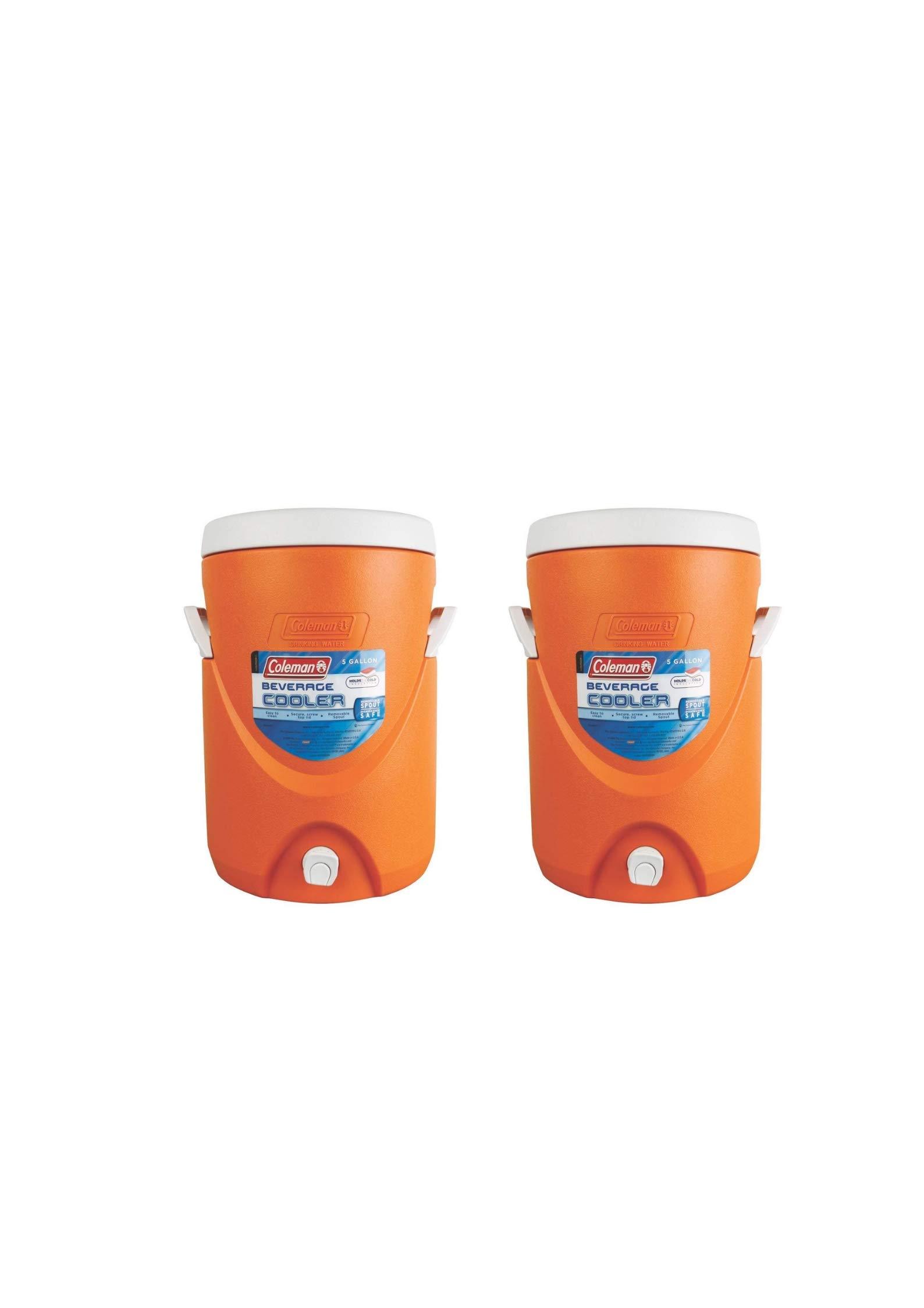 Coleman 5-Gallon Beverage Cooler (2 Pack,Orange)