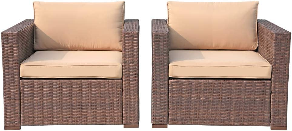 Patiorama Wicker Single Chairs, All Weather Brown PE Wicker Sectional Sofa Chair, Additional Chair for Sectional Sofa, Beige Cushions,Set of 2