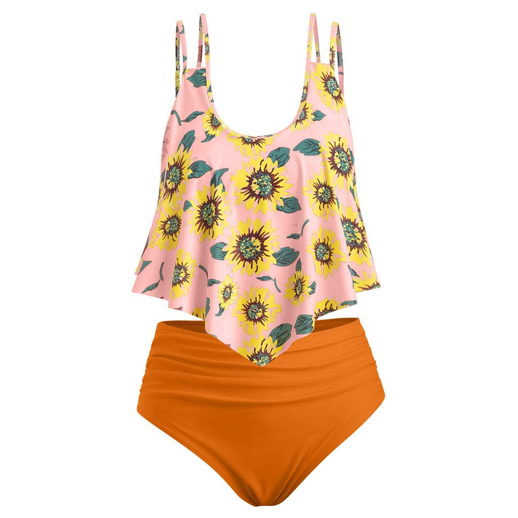 Thenxin Swimsuits for Women Sunflower Print Two Pieces Bathing Suits Ruffled Flounce Racerback Top with High Waisted Bottom