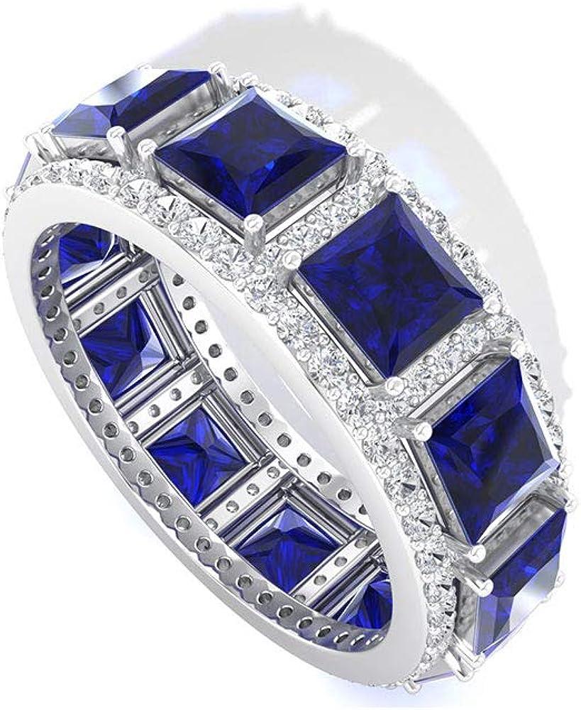 Anillo de eternidad de zafiro azul vintage, halo diamante certificado IGI, único anillo de piedras preciosas apilables con diamantes de claridad de color IJ-SI