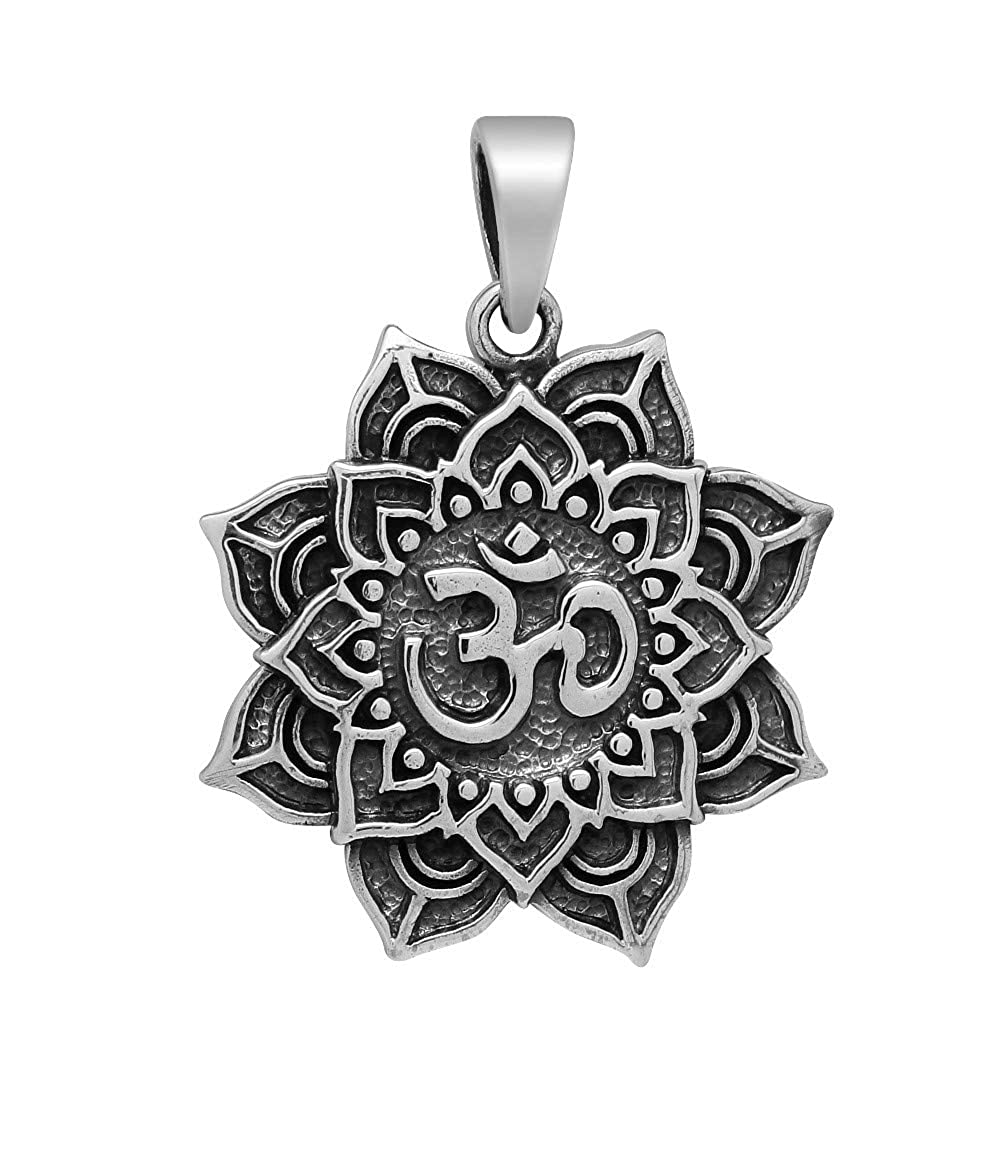 schmuxxi Om Anhänger Blume des Lebens Silber 925 Kettenanhänger für Damen 30mm