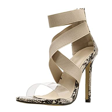 82cb091f451 Amazon.com  Peize Sexy Women Snake Skin Pattern Cross Strap Non-Slip ...