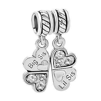 f0e2d8b05 Sterling Silver Rhinestone 'Big Sis Little Sis Love' Heart European Bead  Charm: Amazon.co.uk: Jewellery