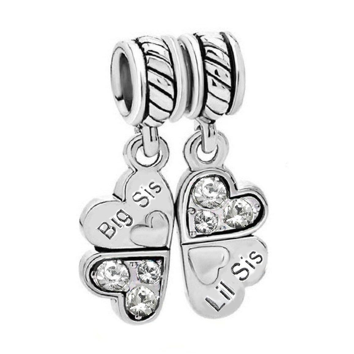 Sterling Silver Rhinestone 'Big Sis Little Sis Love' Heart European Bead Charm