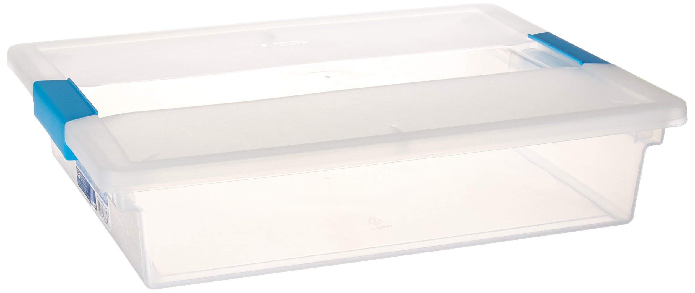 Sterilite 19638606 Large Clip Box, Clear with Blue Aquarium Latches, 6-Pack (Renewed) by STERILITE