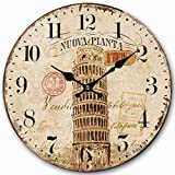 Telisha Wooden Wall Clock Italian Pisa Tower Clock Retro Vintage Large Clock Home Decorative Country Non -Ticking Silent Quiet 14 Inch Gift