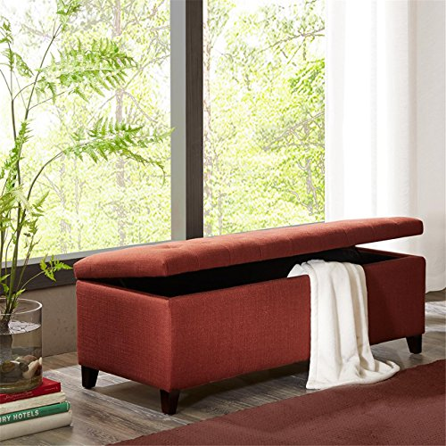 Madison Park Shandra Tufted Top Storage Bench, Red