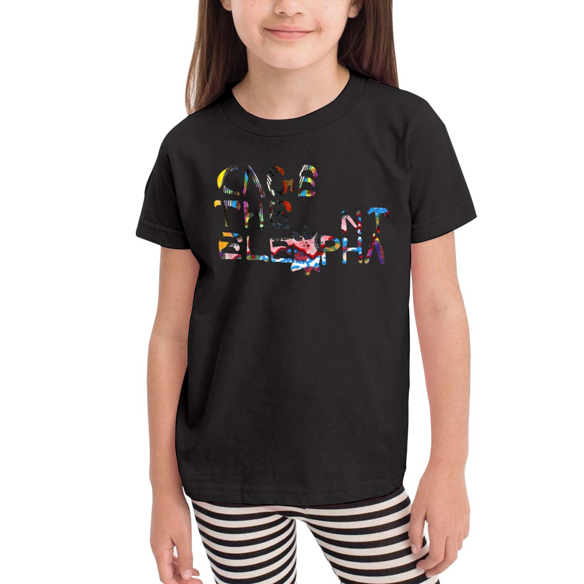 SuperLee Boys Girls Kids Cage The Elephant Cute Short Sleeve T-Shirt Black
