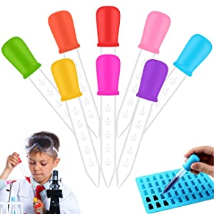 8 Pack Liquid Droppers 5ml Clear Liquid Medicine Eye Dropper with Bulb Tip Silicone and Plastic Pipettes for Kids Gummy Making Oil Kitchen Industrial Science and Crafts Projects