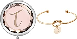 Compact Crystal Pocket Makeup Mirrors,Letter Mirrors Set Include 1 Letter Mirror 1 Letter Love Knot Bracelets for Bachelorette Party Bridesmaid Proposal Gifts ,Wedding Party Gifts. (Champagne T)