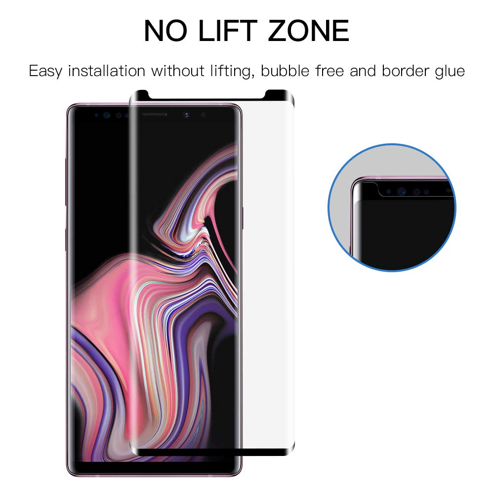 Tembin 9H Hardness Note 9 Tempered Glass Screen Protector, Full Coverage 3D Curved Edge Premium HD Screen Film Dust Free/Bubble Free/Anti Fingerprint/Anti Scratch Compatible Samsung Galaxy Note 9