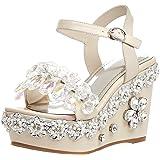 Damen Catxae 10.5CM Keilabsatz Schnalle Sandalen Schuhe, Weiß, 34.5 Calaier