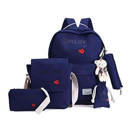 CNMXNBea 4 Pieces/Set Of Women Canvas Backpack Girl Student Lace Book Bag With Backpack