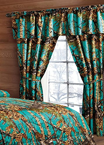 20 Lakes Woodland Hunter Camo Valance, Panels, Tie Backs Curtain Drape Set Five Pieces (Teal) ()