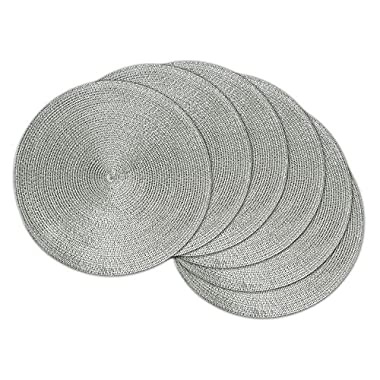 DII Round Braided/Woven, Indoor/Outdoor Placemat/Charger, Set of 6, Metallic Silver
