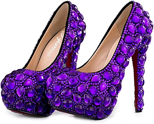 Amazon Com Purple Rhinestone Wedding Bridal Shoes Woman High