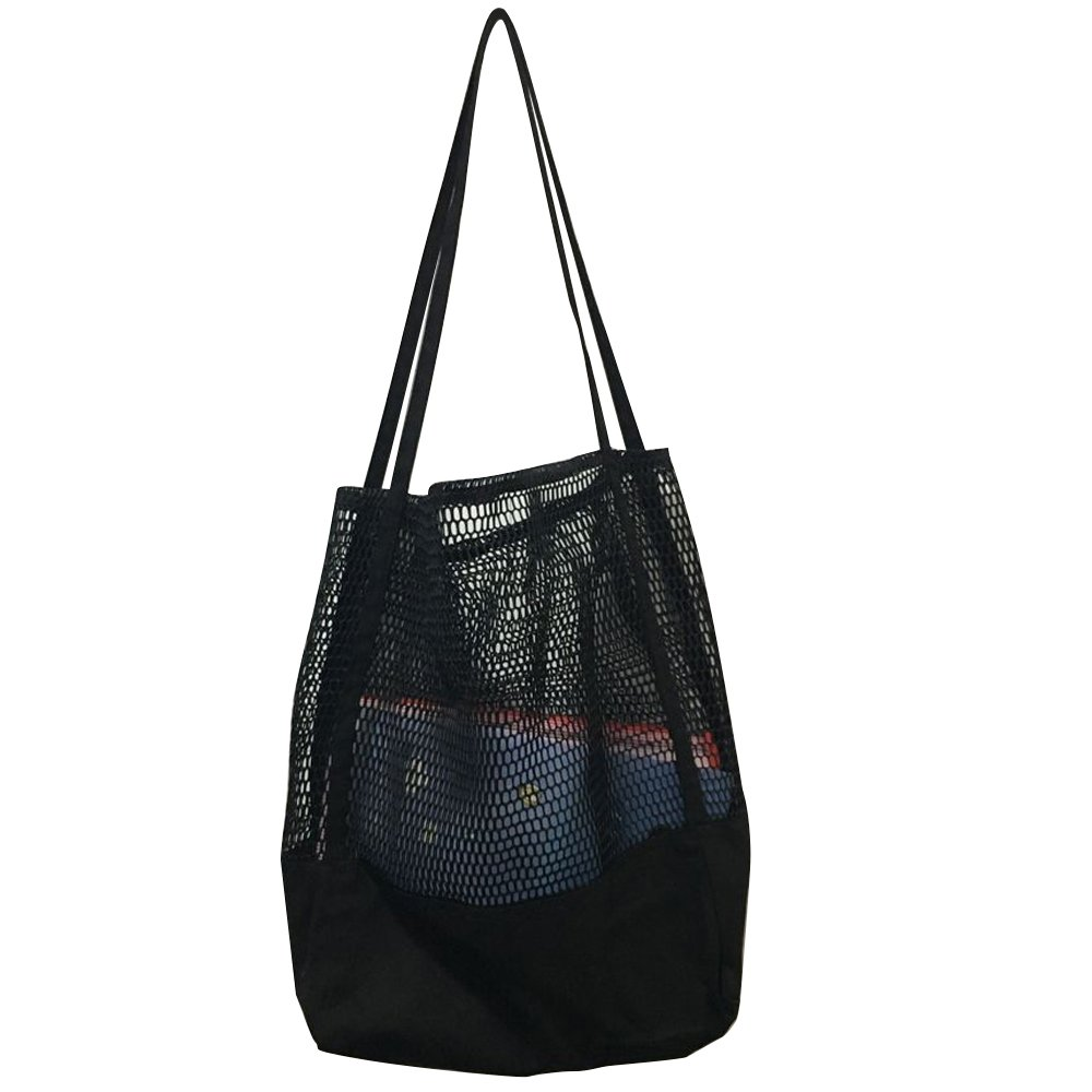 Flowertree Carry All Splicing Canvas Mesh Tote Sheer Large Shopping Bag (Black)
