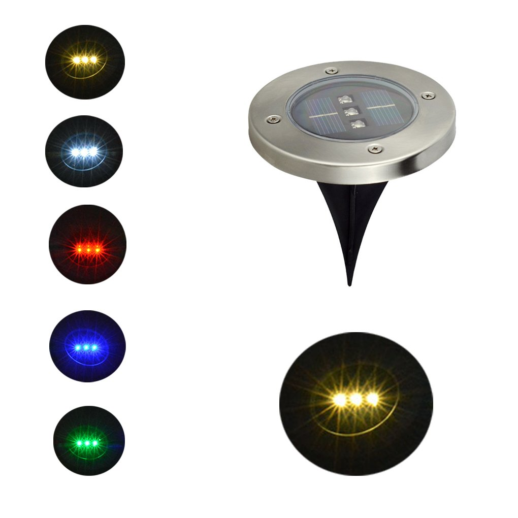 Ireav 5pcs 3LEDs Waterproof Solar Power Lighting Buried Ground Light for Outdoor Patio 5 Color