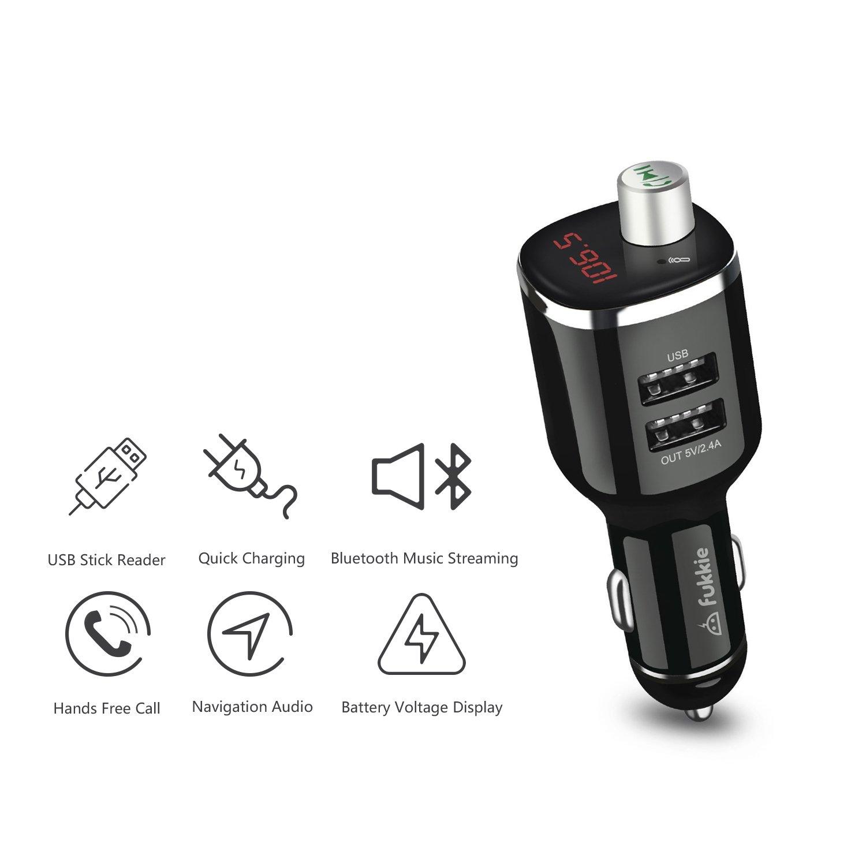 pour iPhone Samsung LG Sony iPad Etc mains libres et 2 chargeur USB intelligent Adaptateur radio pour voiture sans fil Kit de voiture de t/él/éphone portable avec microphone int/égr/é Fukkie Transmetteur FM Bluetooth 5V // 2.4A