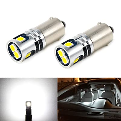 Phinlion 400LM Super Bright 3030 5-SMD BA9 BA9S 53 57 1895 64111 LED Car Light Bulb 12V 24V 6000K Xenon White: Automotive