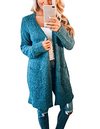 56cfcc98daa MEROKEETY Women s Long Sleeve Soft Chunky Knit Sweater Open Front Cardigan  Outwear with Pockets Teal