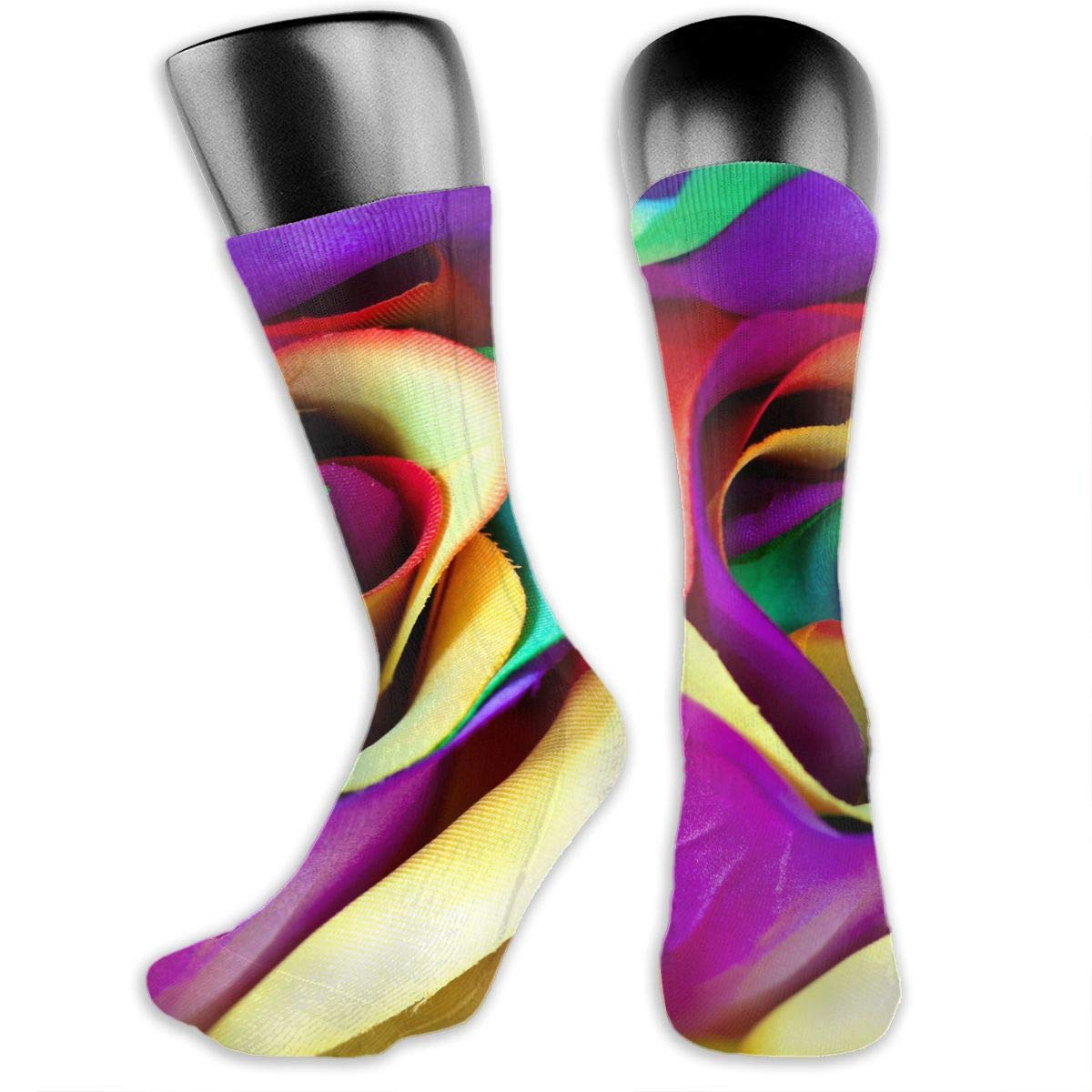OLGCZM 3D Colorful Rainbow Rose Men Womens Thin High Ankle Casual Socks Fit Outdoor Hiking Trail