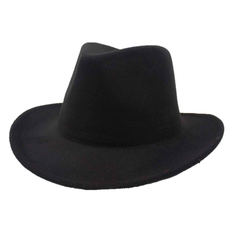 Men Women Wool Felt Cap Fedora Hat Western Cowboy Cowgirl Cap Jazz hat Sun Hat with Leather Band