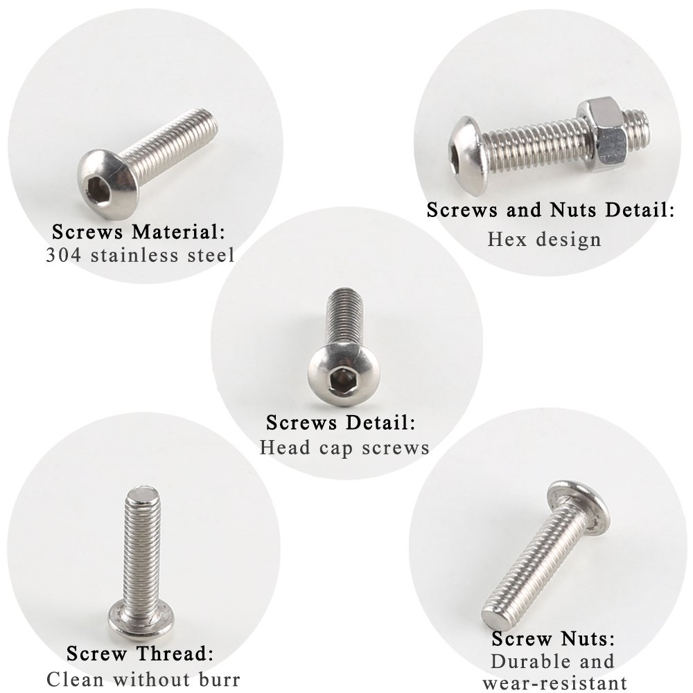500pcs M3//M4//M5 Screws Bolts and Nuts Kit Stainless Steel Hex Head With Box EBO