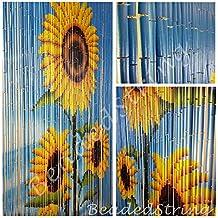 BeadedString Bamboo Beaded Curtain-Hand Painted Natural Bamboo Wood Beaded Door Beads-Doorway Curtain-90 Strands-Sunflower