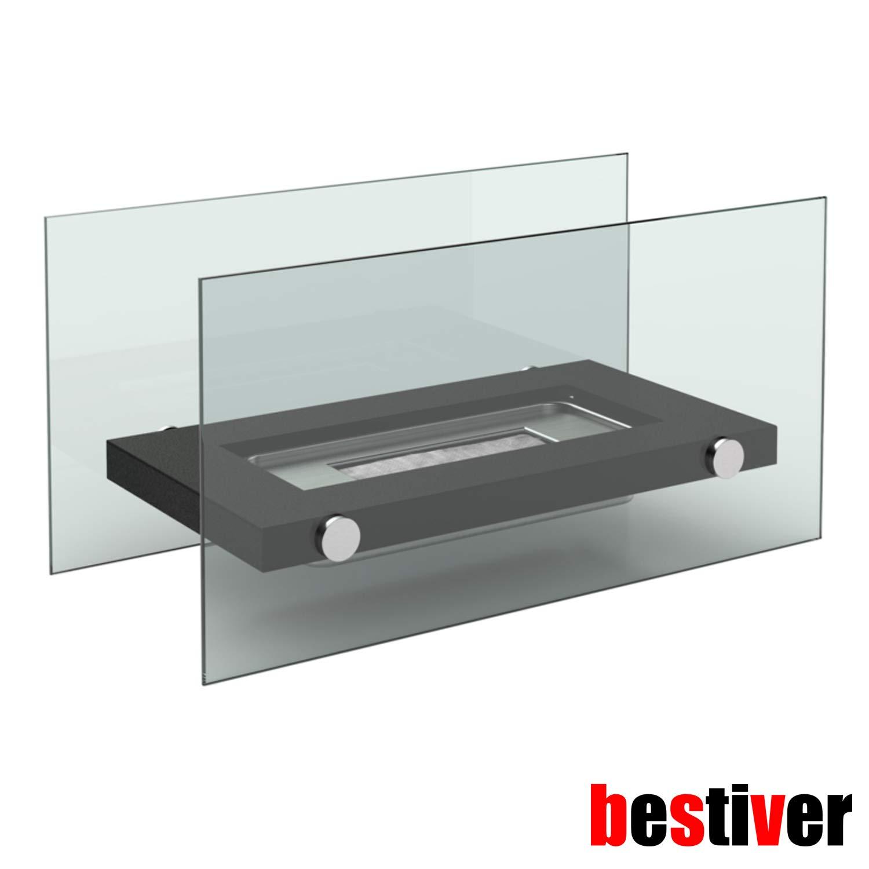 M Design Glas-Kamin Tischfeuer mit Bio-Ethanol f/ür Indoor und Outdoor