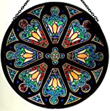 Decorative Hand Painted Stained Glass Window Sun Catcher/Roundel in a Tiffany Rose Window Design
