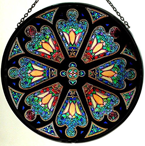 Red Stained Glass Suncatcher - Decorative Hand Painted Stained Glass Window Sun Catcher/Roundel in a Tiffany Rose Window Design