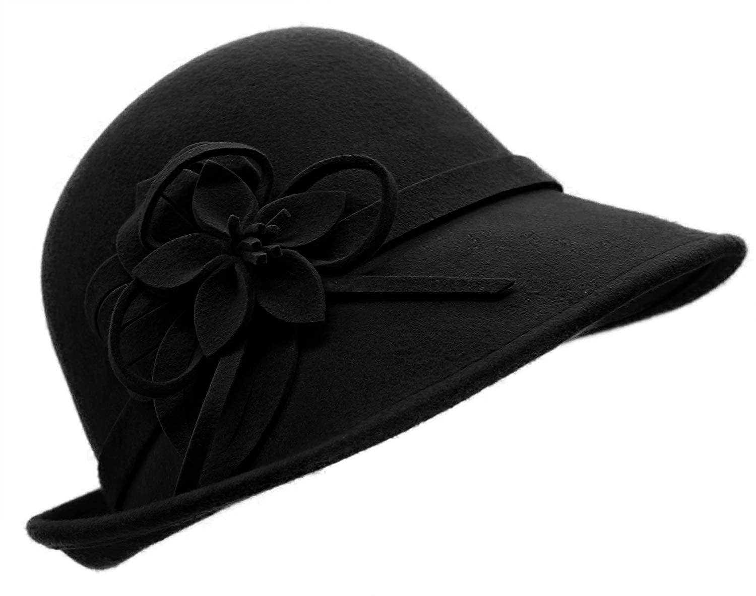 1920s Style Hats Bellady Women Solid Color Winter Hat 100% Wool Cloche Bucket with Bow Accent $20.99 AT vintagedancer.com