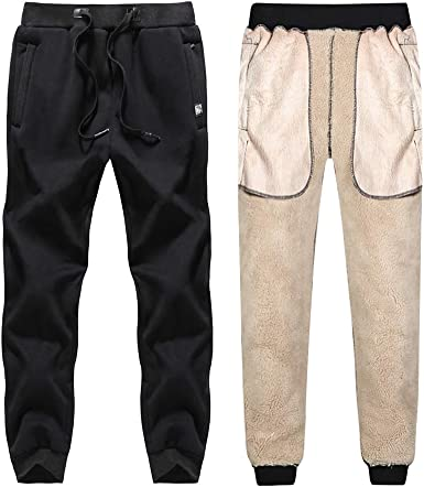 KEFITEVD Mens Winter Fleece Jogging Trousers Thermal Elastic Waist Sherpa Running Work Trouser Sports Pants