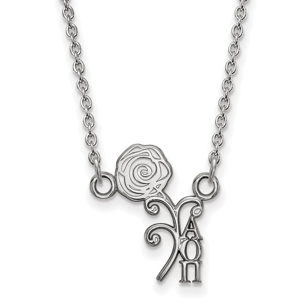 10.8mm Solid 925 Sterling Silver Alpha Omicron Pi Extra Small Pendant with Necklace