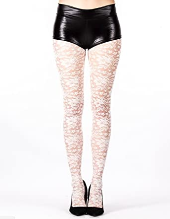 8c7bb03c33cc6 Ladies/Womens White Lace Tights Fashion tights: Amazon.co.uk: Clothing