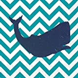 Boston International 20 Count Yacht Club 3-Ply Paper Cocktail Napkins, Turquoise Whale
