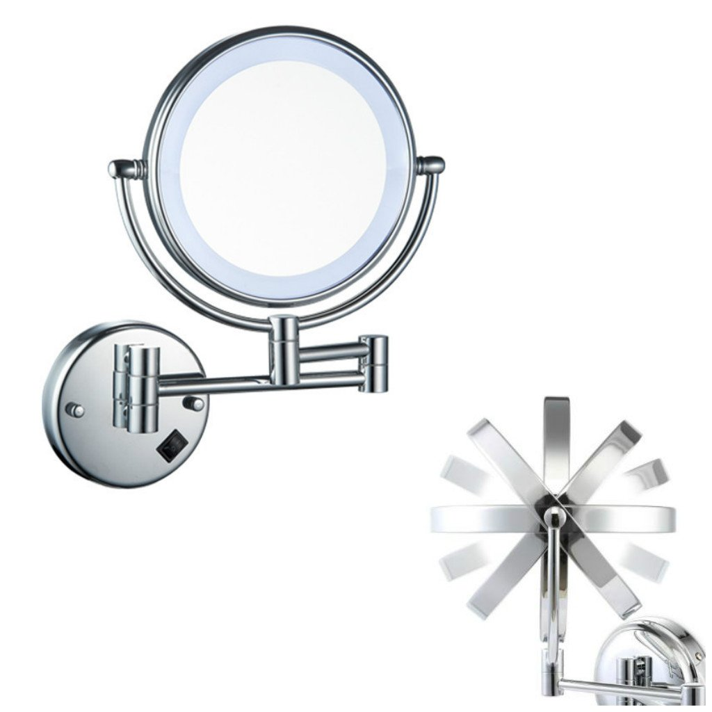 Homyl Metal Double Sided LED Light Wall Mount Mirror Makeup Shaving 3X 5X 7X Rotatable and Adjustable - Chrome, 7x Magnification by Homyl (Image #4)